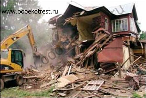 Механизированный демонтаж дома