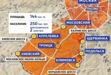 Карта - города Новой Москвы