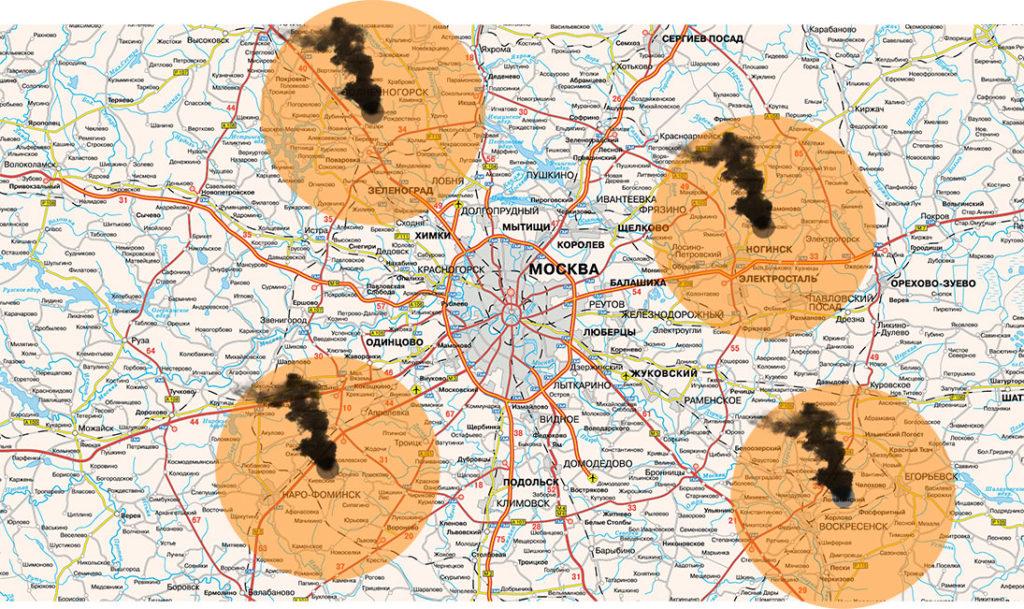 Карта мусоросжигательных заводов Московской Области
