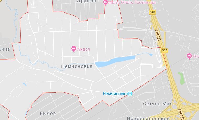 Карта Немчиновка Одинцовского района
