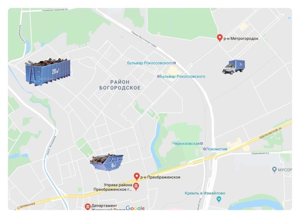 Контейнеры на карте в Богородском районе ВАО