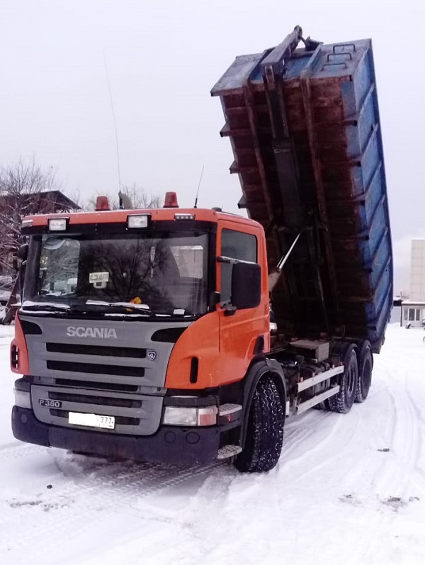 Разгрузка снега контейнер 20 м3